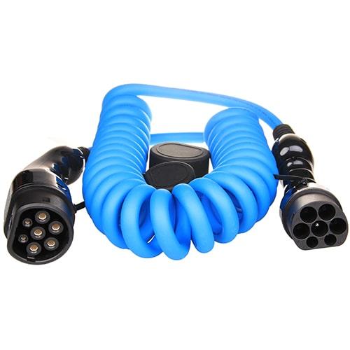 1-EV Type2 -> Type2 spiral (3x16A) Câble de recharge véhicule électrique
